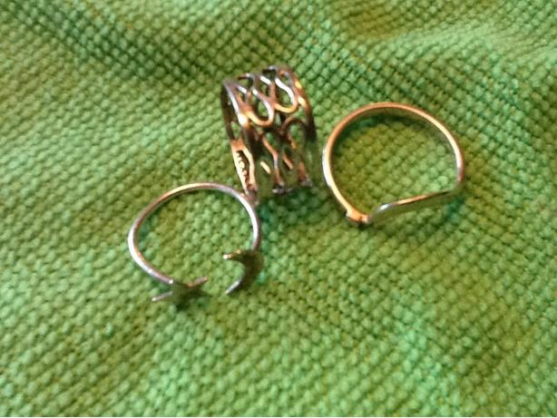 3 Silver 925 Stamped Large toe rings or finger rings