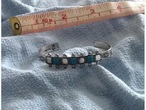 "Reduced Price 2-1/4"" Silver ""Sanford"" bracelet 3 semi-precious topaz accents"