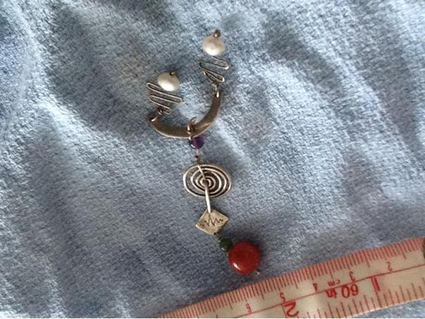 Art Deco Silver Pearl and bead Pendant
