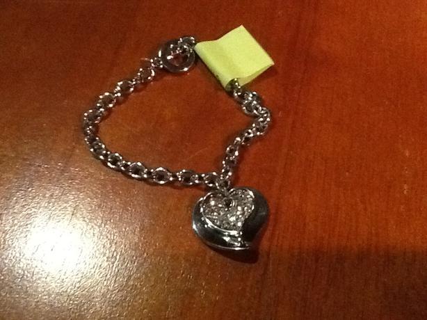 """8.5"""" stainless steel heart bracelet"""