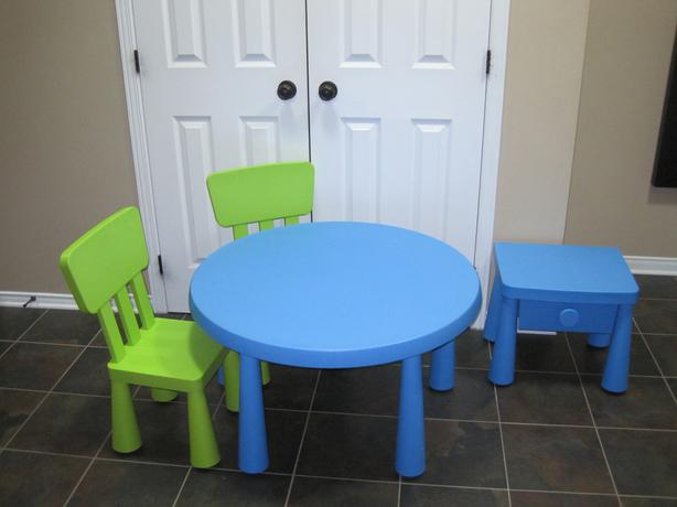 Ikea children 39 s table chairs side table mammut nepean for Ikea green side table