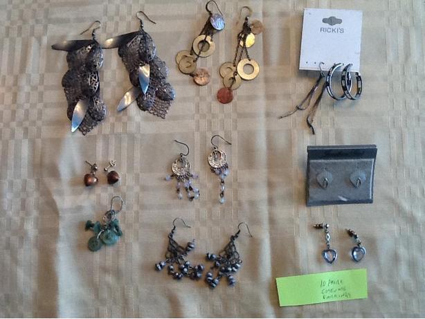 Ten pairs of costume jewelry earrings