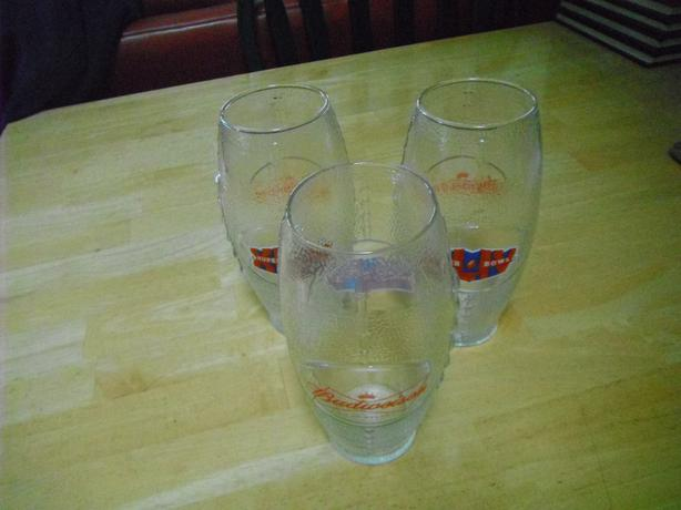 set of 3 Budweiser super bowl glasses shaped like a football