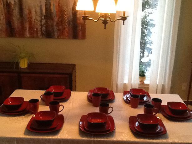 Setting for 12. Corelle Hearthstone Stoneware. Chili Red ...