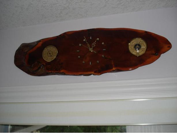 Burl Clock with Barometer & Thermometer