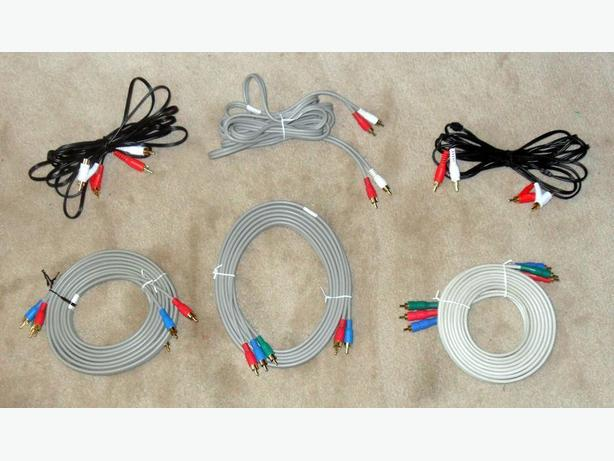 3 Sets of New Stereo Audio and Component Video Cables