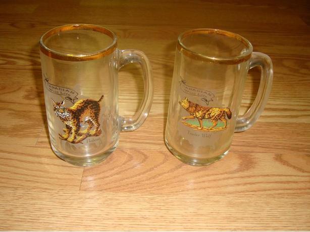 2 Like New Gold Rimmed Beer Glasses - $2 each