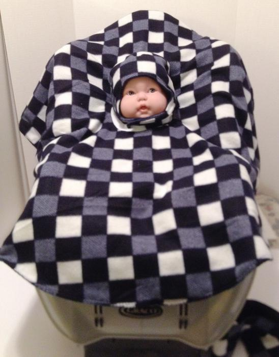 reversible car seat poncho with reversible matching hat with chin strap north regina regina. Black Bedroom Furniture Sets. Home Design Ideas