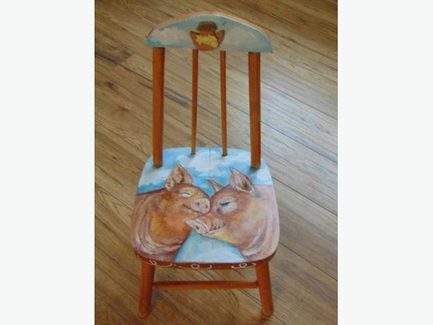 Artist Sarit Critters Vintage Hand Painted 1960's Wood Chairs One Of A Kind