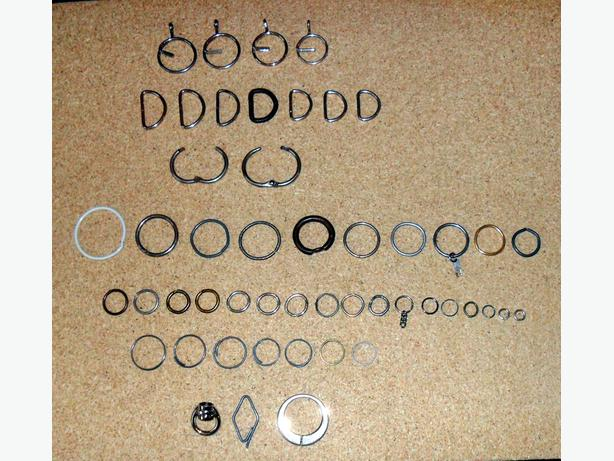 53 (50 shown) Assorted Rings for keys, key chains, key holders … etc.