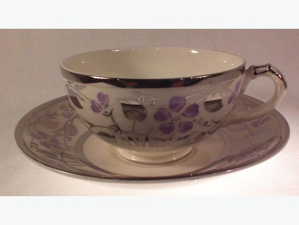 Empire handpainted teacup & saucer