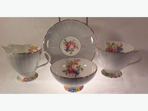 Foley teacup, saucer, creamer, sugar