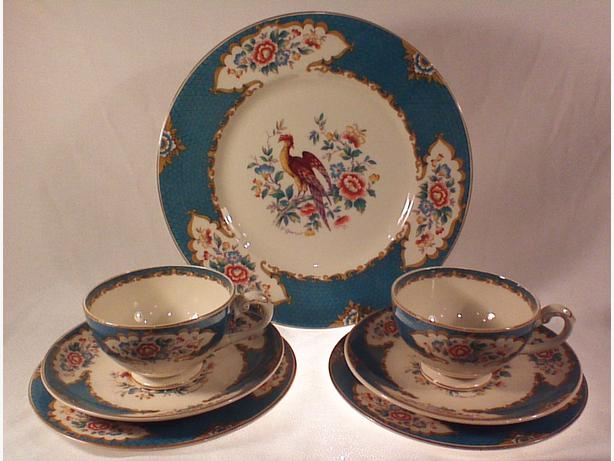 Myott Old Bow Pheasant Teal teacup trios