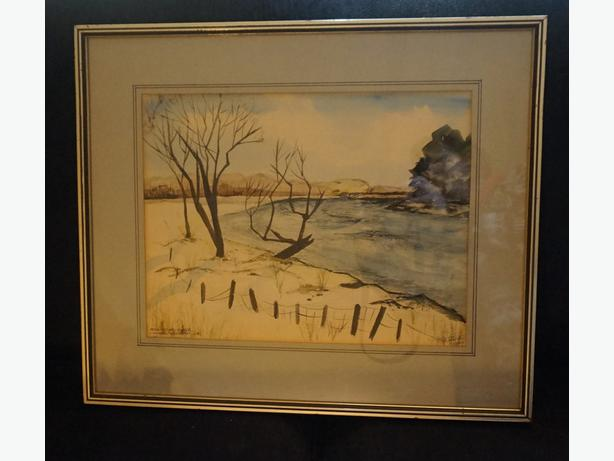 4U2C VINTAGE WATER COLOR SIGNED B. TALEISHI