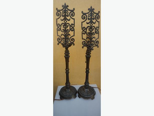 4U2C RARE PAIR ANTIQUE BRONZE CANDLE STICK LAMPS WITH CAST METAL FRONT SCREEN