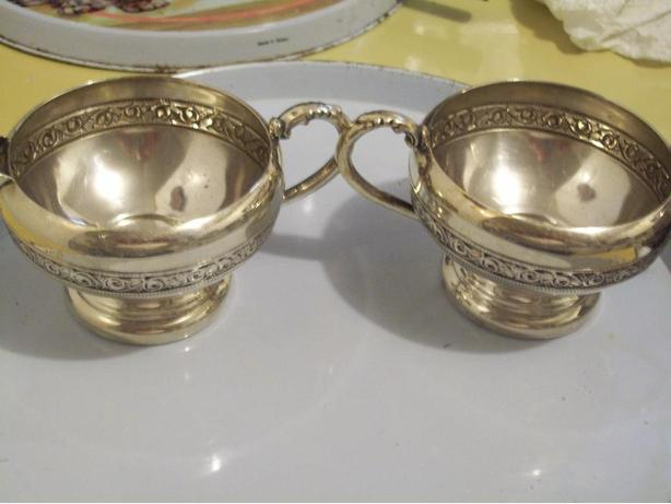 ANTIQUE SILVER CREAM AND SUGAR SET