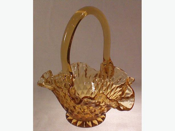 Amber pressed glass basket