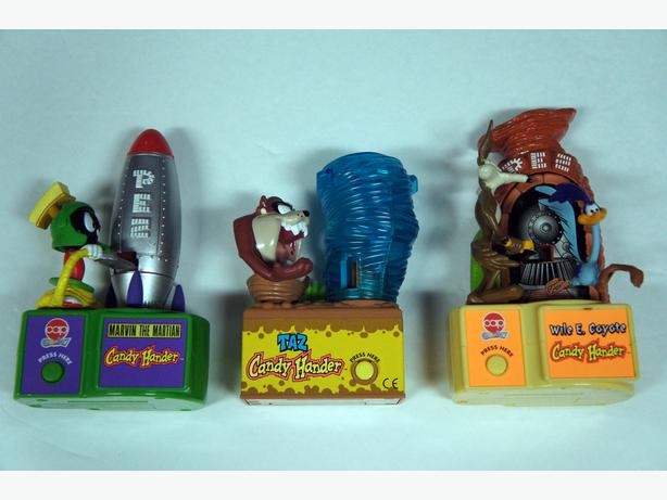 3 Pez Dispensers 1998 Looney Tunes Candy Handler, Taz. Marvin & Wile