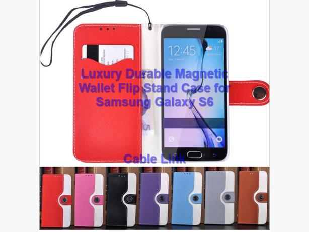 Durable Magnetic Flip Folio Leather Case for Samsung S6