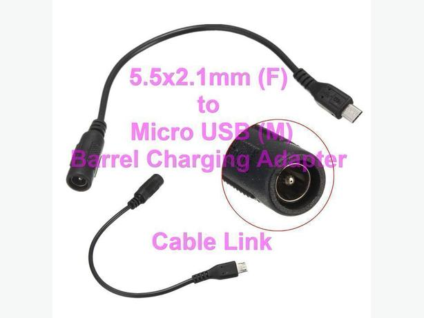 5.5x2.1mm (F) to Micro USB (M) Barrel Power Charging Adapter
