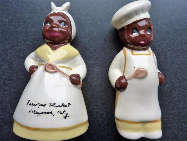 Aunt Jemima & Uncle Moses Vintage Salt & Paper Shakers (signed by the artist)