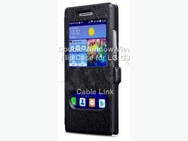 New Double Window View Flip Stand Case for LG G3