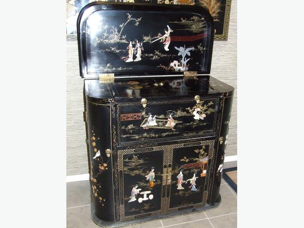 Chinese black lacquer bar cabinet south east calgary for Oriental furniture montreal