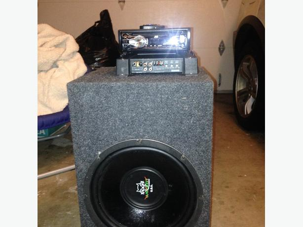 "JVC CD Deck + 12"" JBL Subwoofer and Amp"