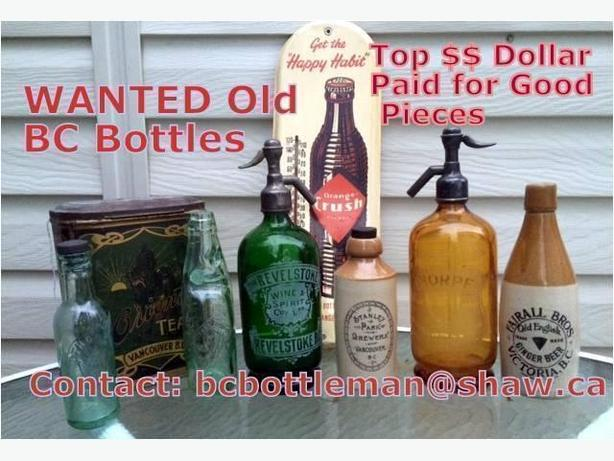 Wanted Old Bottles & Related Items