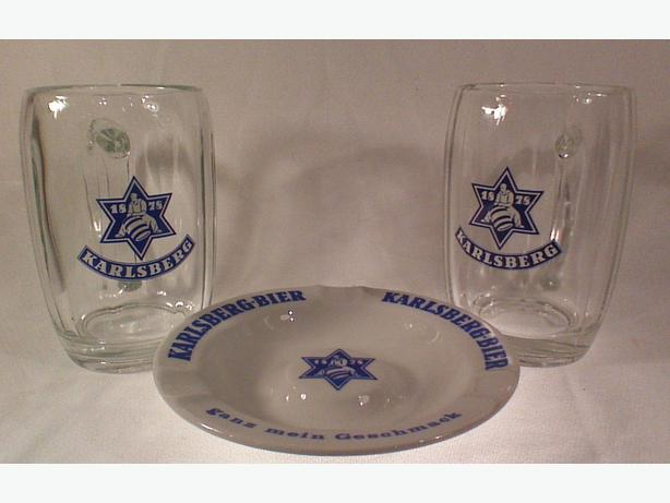 Karlsberg beer-mug ashtray promotional set