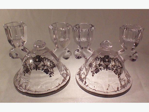 Silver overlay candleholders double-light