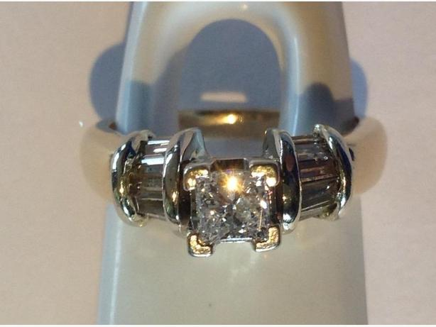 14K Diamond Engagement Ring .5ct Princess Cut plus Baguette Diamonds