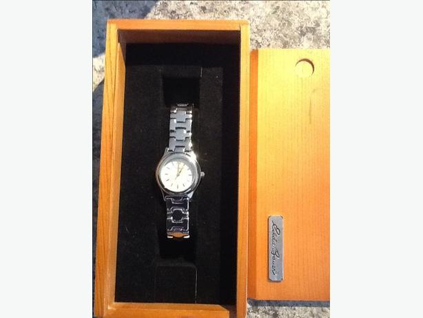 Eddie Bauer Ladies Stainless Steel Watch with pearl face