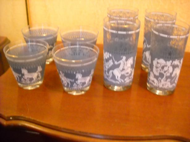 4U2C MID CENTURY WEDGEWOOD TEAL BLUE SET 8 GLASSES