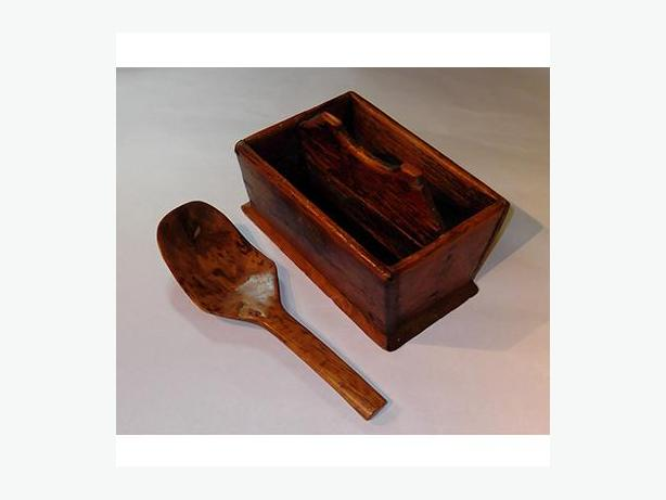 Early Wooden Cutlery Tray With Matching Ladle