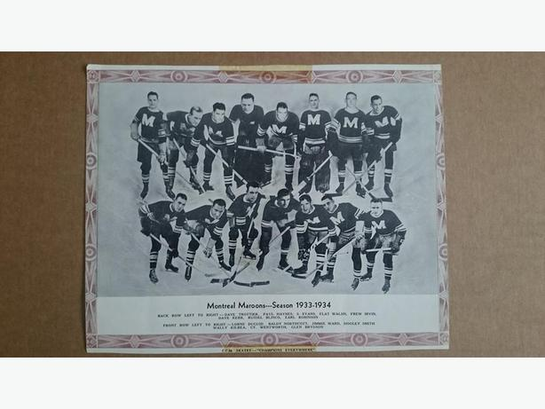 1933/34 CCM Skates Montreal Maroons Hockey Photo