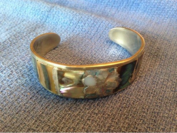 Alpaca Mexico Silver Inlaid Abalone Mosiac Bracelet