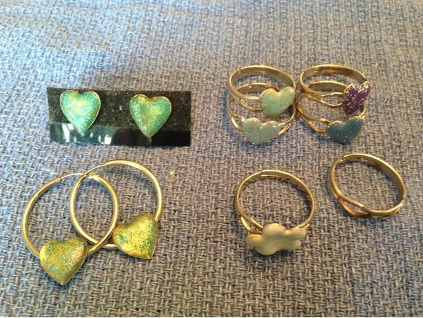 Bunch of heart rings and earrings