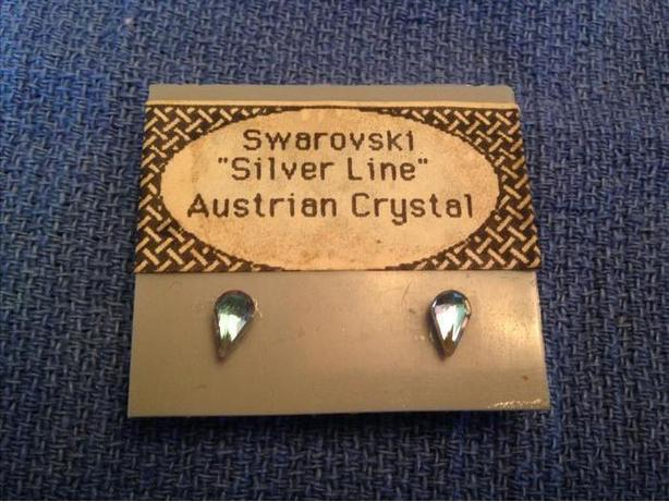 "NEW - Swarovski ""Silver Line"" Austrian Crystal Tear drop stud earrings"