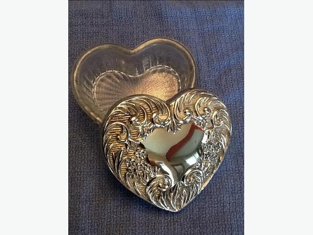 Silver and Glass Heart Shaped Jewelry Box
