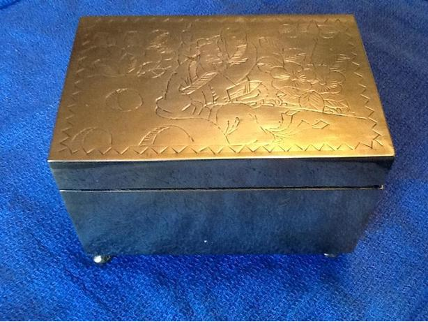 Antique Silver Jewelry Box with wood lining