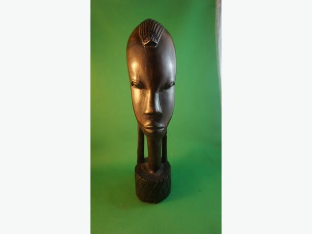 4u2c CARVED EBONY WOOD FEMALE HEAD STATUE WITH LONG HAIR