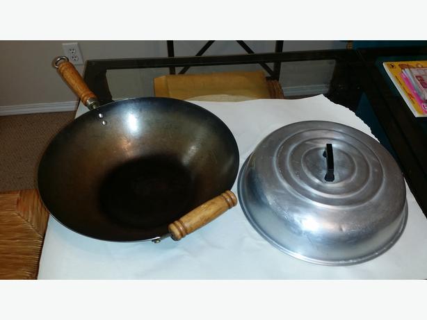 Chinese woks, frying pan, ginger grater