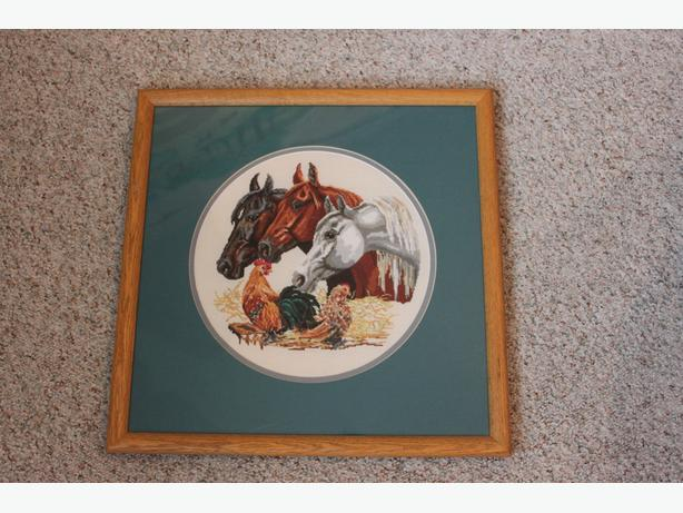 Hand made cross stitch horse pictures
