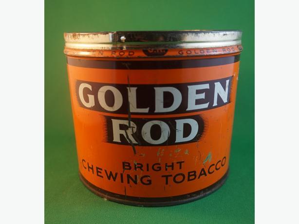 4u2c RARE VINTAGE GOLDEN ROD CIGAR TIN