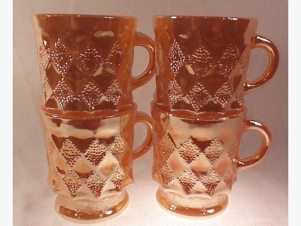 Anchor Hocking Kimberly mugs peach lustre