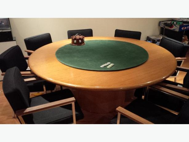 Solid Wood Professional Poker Table with 8 Arm Chairs