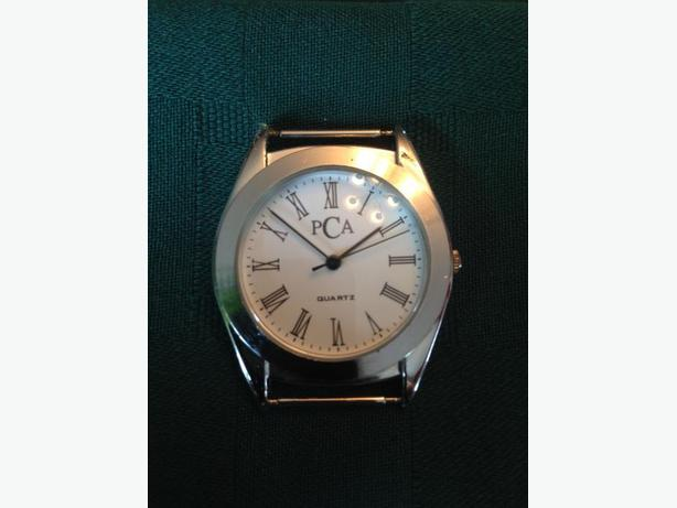 PCA Womens Quartz White Dial Silver-Tone Steel Case Watch