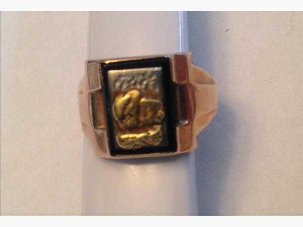 10K Men's Gold Ring with 24K Gold Nugget Size 12.5