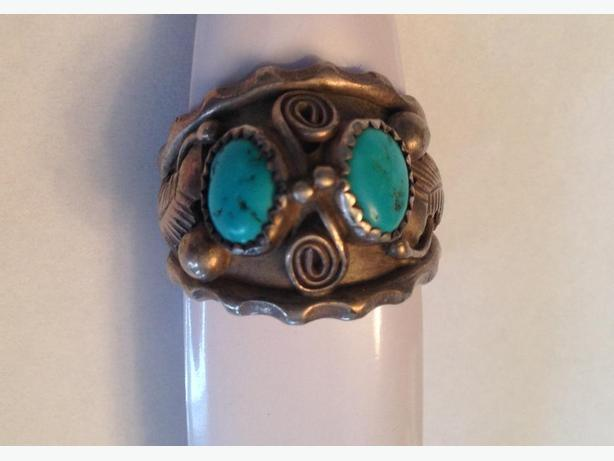 Heavy Ornate Silver with 2 Tourquoise Stones Ring Size 12